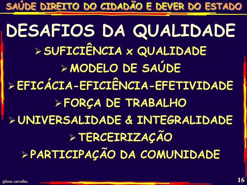 gilson carvalho 15 DESAFIOS DA QUALIDADE NA POLÍTICA DE SAÚDE DOS BRASILEIROS