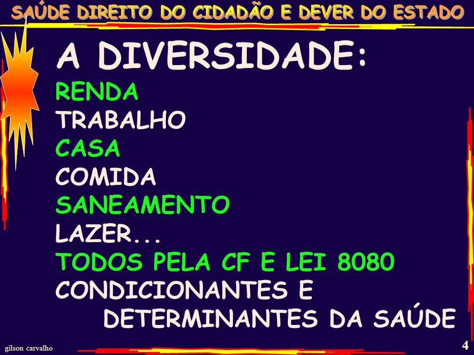 gilson carvalho 3 A DIVERSIDADE: ENTRE OS SEM SAÚDE E OS COM SAÚDE