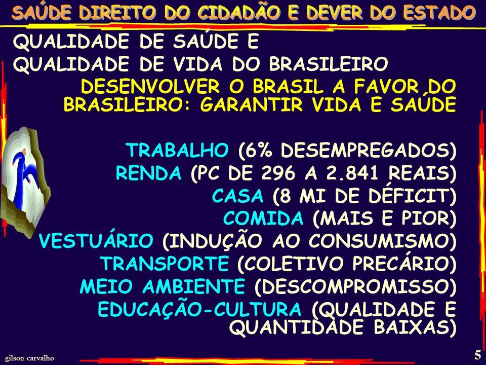 gilson carvalho 4 A DIVERSIDADE: RENDA TRABALHO CASA COMIDA SANEAMENTO LAZER... TODOS PELA CF E LEI 8080 CONDICIONANTES E DETERMINANTES DA SAÚDE