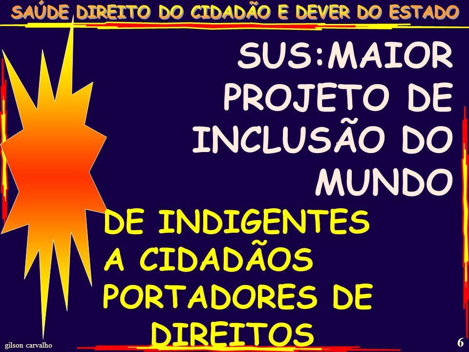 gilson carvalho 5 QUALIDADE DE SAÚDE E QUALIDADE DE VIDA DO BRASILEIRO DESENVOLVER O BRASIL A FAVOR DO BRASILEIRO: GARANTIR VIDA E SAÚDE TRABALHO (6%