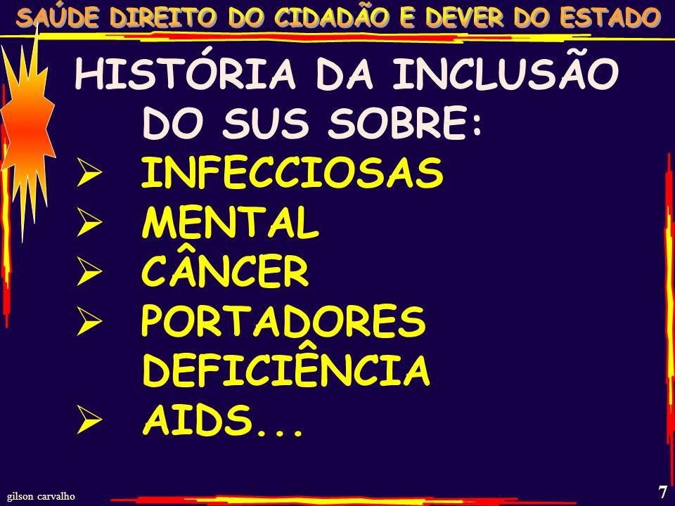 gilson carvalho 6 SUS:MAIOR PROJETO DE INCLUSÃO DO MUNDO DE INDIGENTES A CIDADÃOS PORTADORES DE DIREITOS