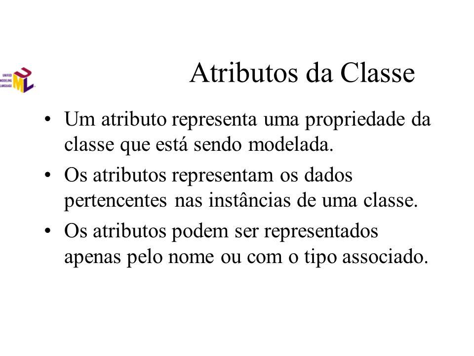Atributos da Classe Um atributo representa uma propriedade da classe que está sendo modelada. Os atributos representam os dados pertencentes nas instâ