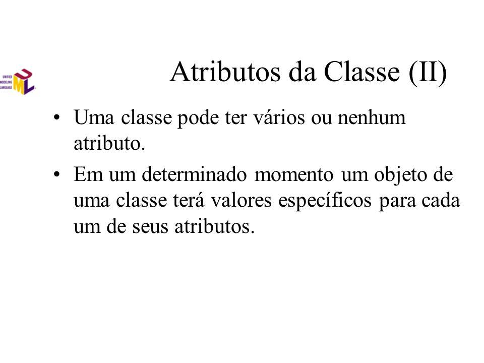 Atributos da Classe (II) Uma classe pode ter vários ou nenhum atributo. Em um determinado momento um objeto de uma classe terá valores específicos par