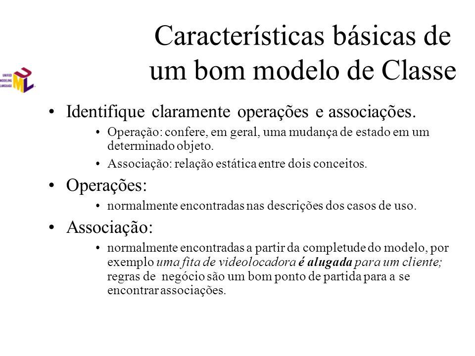 Características básicas de um bom modelo de Classe Identifique claramente operações e associações. Operação: confere, em geral, uma mudança de estado