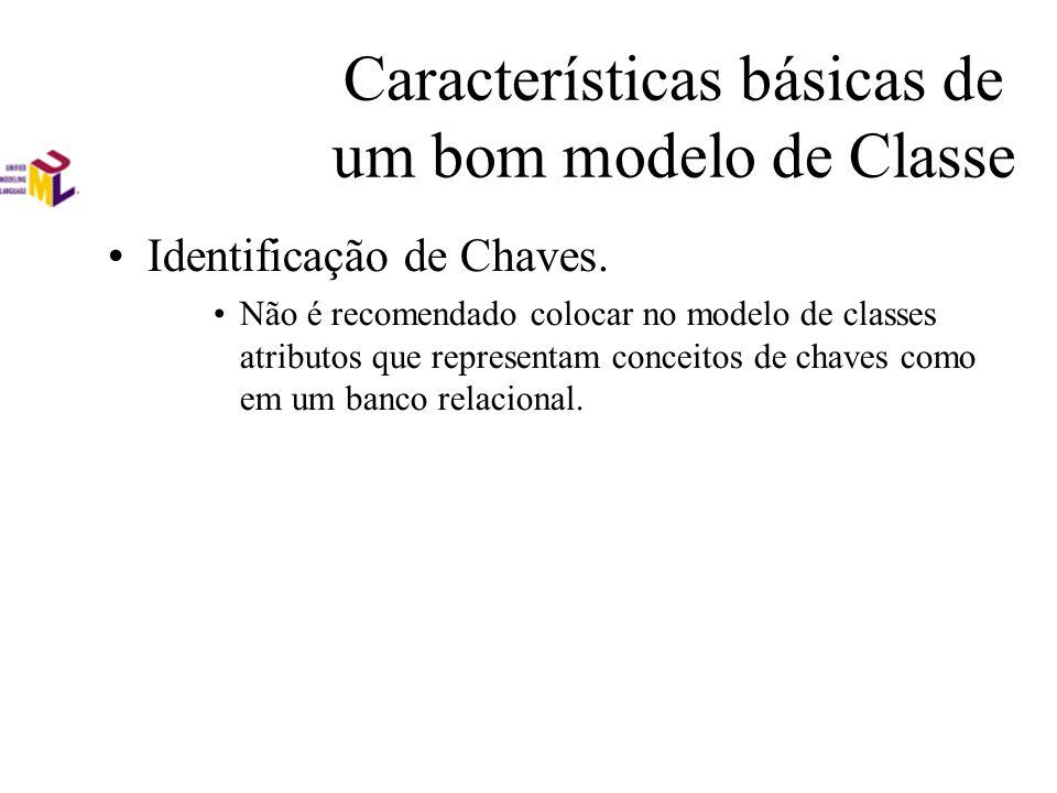 Características básicas de um bom modelo de Classe Identificação de Chaves. Não é recomendado colocar no modelo de classes atributos que representam c