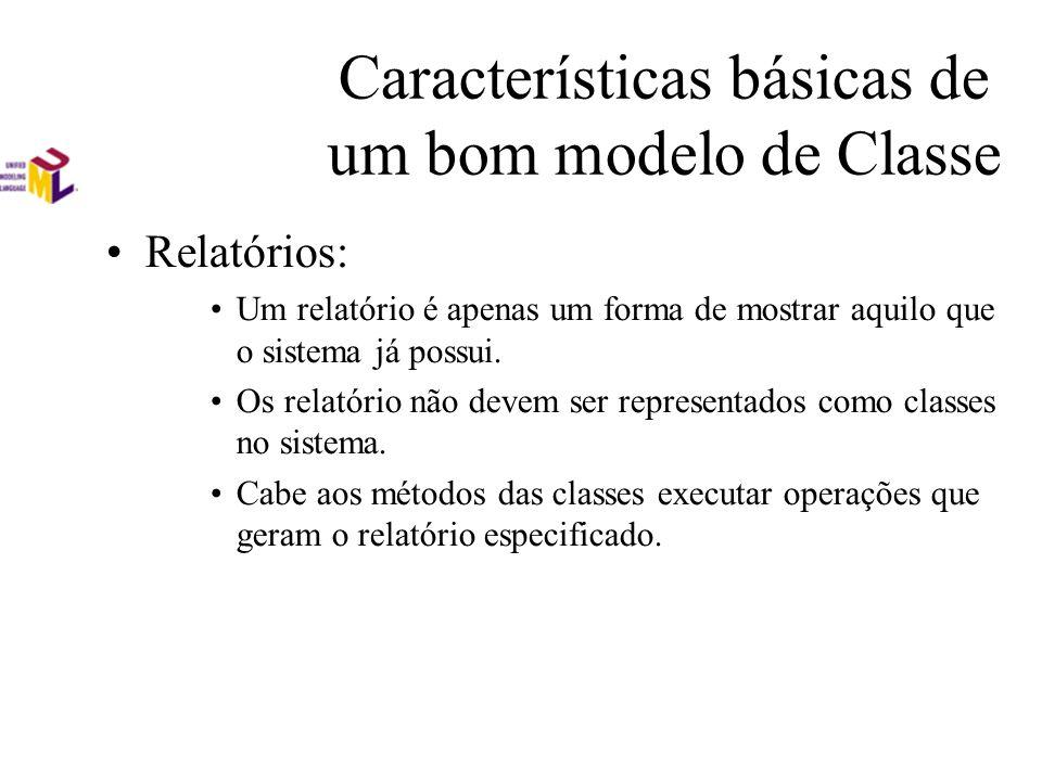 Características básicas de um bom modelo de Classe Relatórios: Um relatório é apenas um forma de mostrar aquilo que o sistema já possui. Os relatório