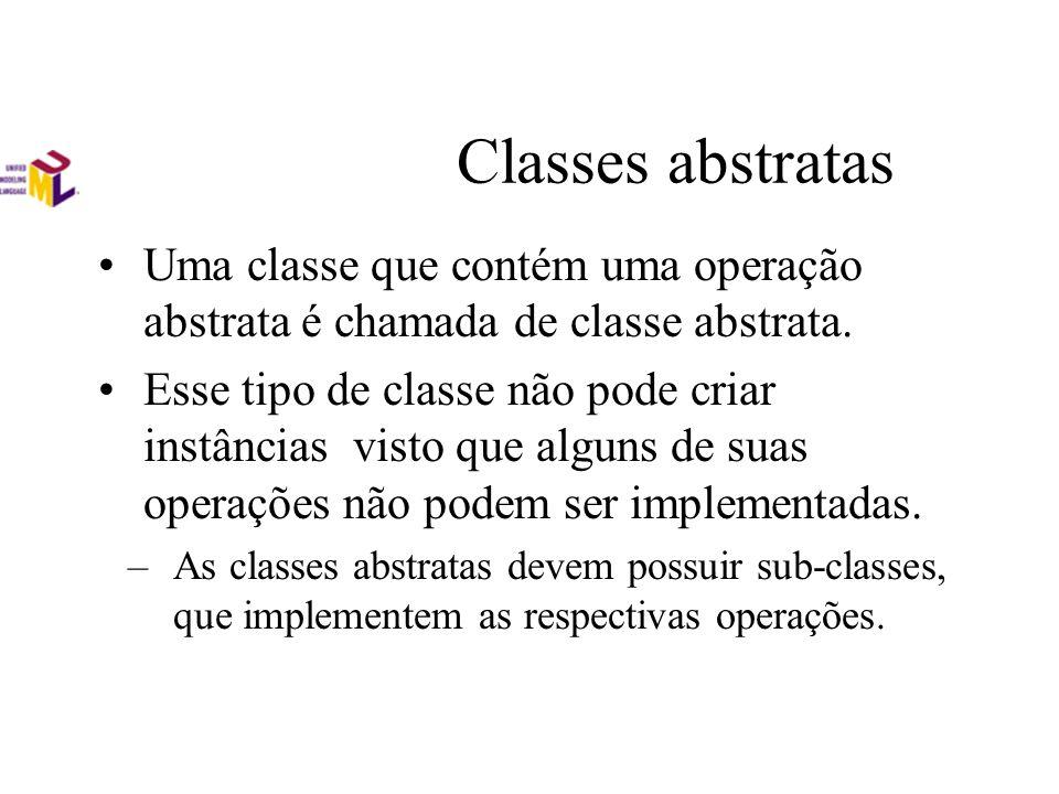 Classes abstratas Uma classe que contém uma operação abstrata é chamada de classe abstrata. Esse tipo de classe não pode criar instâncias visto que al