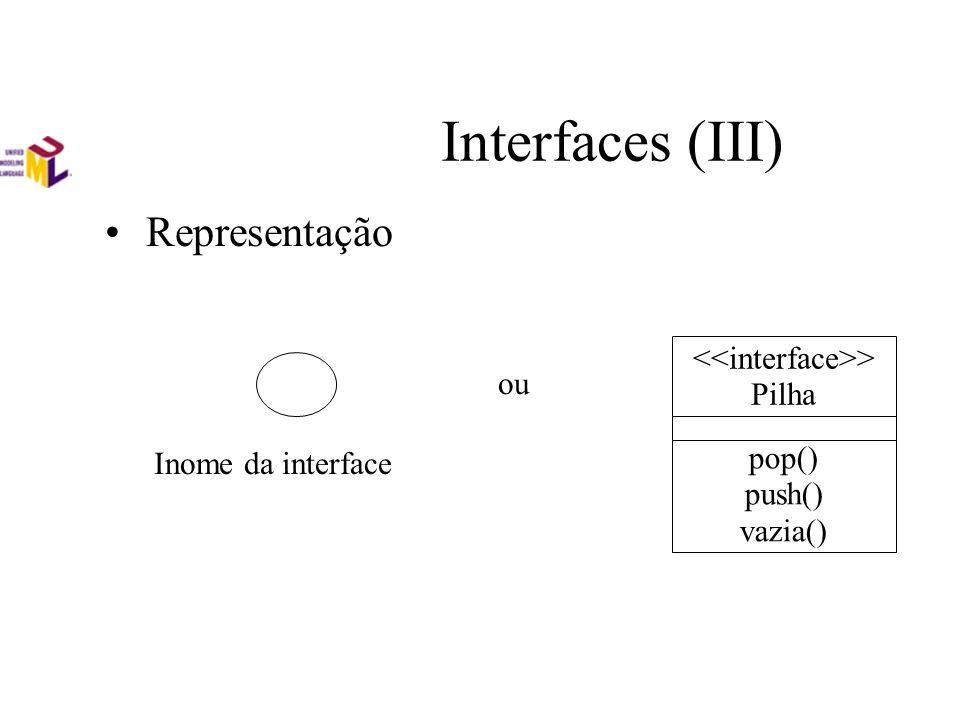 Interfaces (III) Representação Inome da interface ou > Pilha pop() push() vazia()