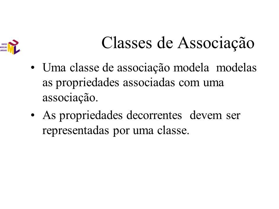 Classes de Associação Uma classe de associação modela modelas as propriedades associadas com uma associação. As propriedades decorrentes devem ser rep