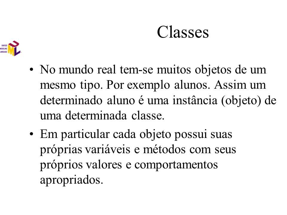 Classes No mundo real tem-se muitos objetos de um mesmo tipo. Por exemplo alunos. Assim um determinado aluno é uma instância (objeto) de uma determina
