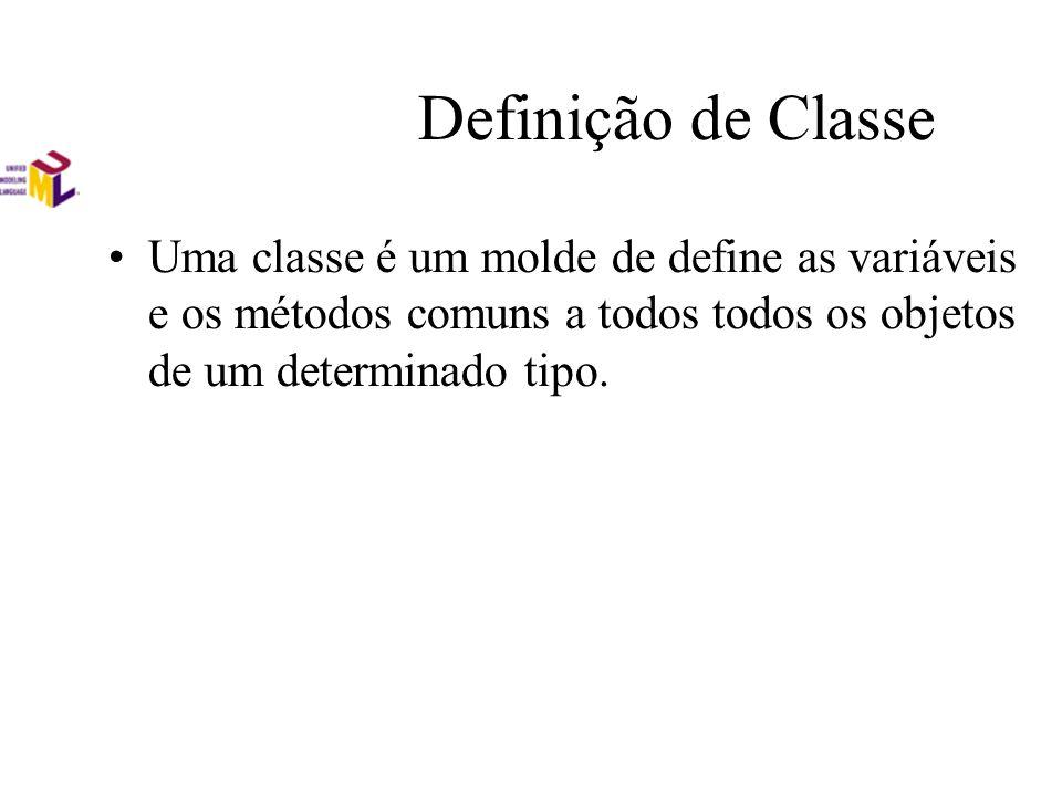 Definição de Classe Uma classe é um molde de define as variáveis e os métodos comuns a todos todos os objetos de um determinado tipo.