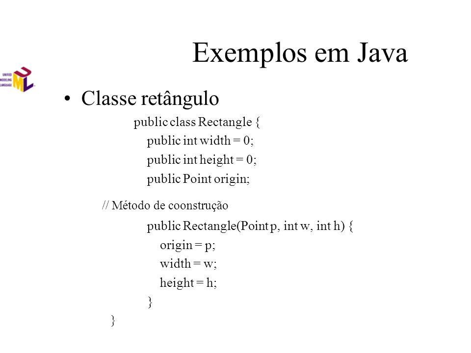 Exemplos em Java Classe retângulo public class Rectangle { public int width = 0; public int height = 0; public Point origin; // Método de coonstrução