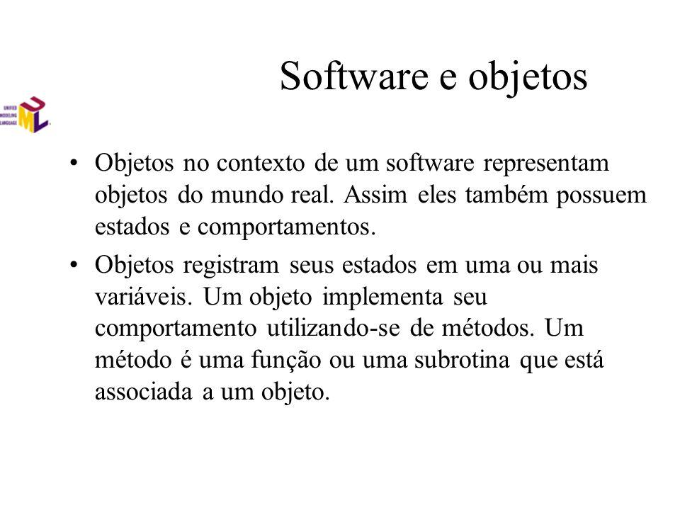 Software e objetos Objetos no contexto de um software representam objetos do mundo real. Assim eles também possuem estados e comportamentos. Objetos r