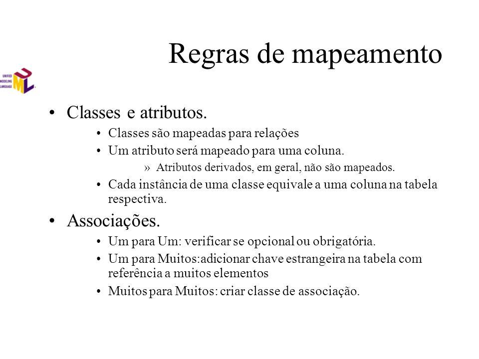 Regras de mapeamento Classes e atributos. Classes são mapeadas para relações Um atributo será mapeado para uma coluna. »Atributos derivados, em geral,