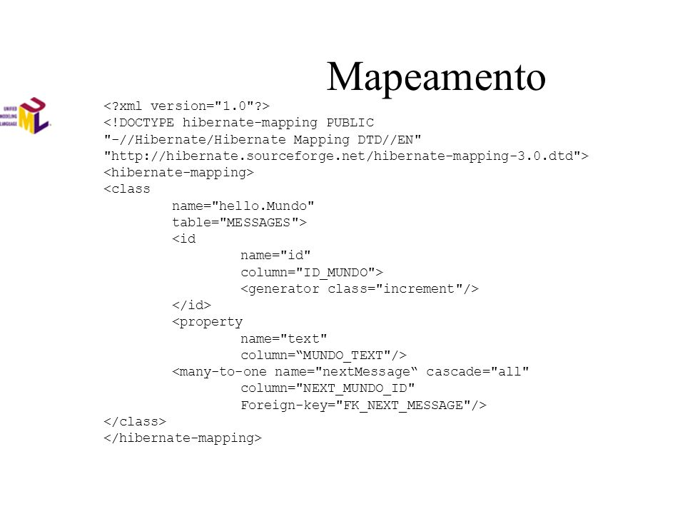 Mapeamento <!DOCTYPE hibernate-mapping PUBLIC