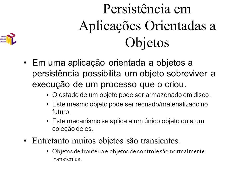 Persistência em Aplicações Orientadas a Objetos Em uma aplicação orientada a objetos a persistência possibilita um objeto sobreviver a execução de um