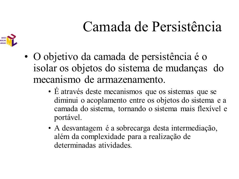 Camada de Persistência O objetivo da camada de persistência é o isolar os objetos do sistema de mudanças do mecanismo de armazenamento. É através dest