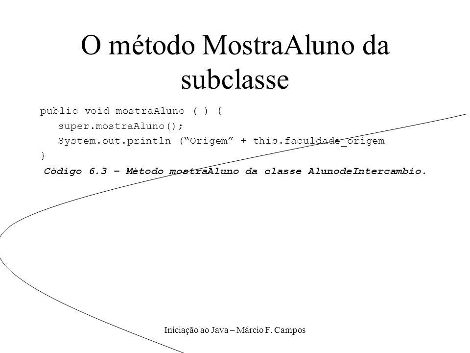 Iniciação ao Java – Márcio F. Campos O método MostraAluno da subclasse public void mostraAluno ( ) { super.mostraAluno(); System.out.println (Origem +