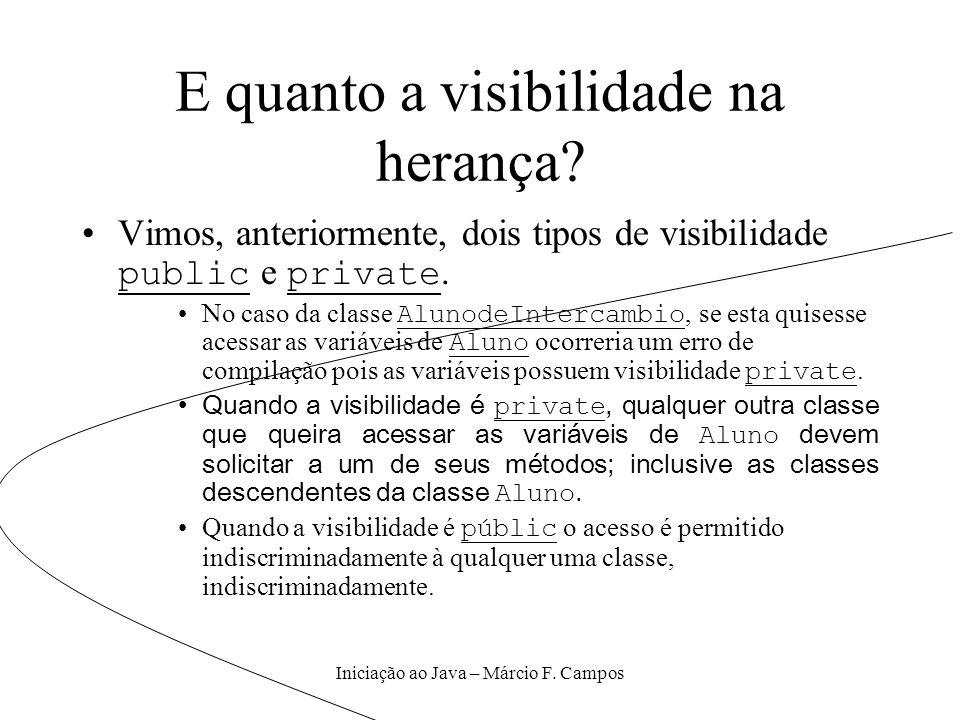 Iniciação ao Java – Márcio F. Campos E quanto a visibilidade na herança? Vimos, anteriormente, dois tipos de visibilidade public e private. No caso da