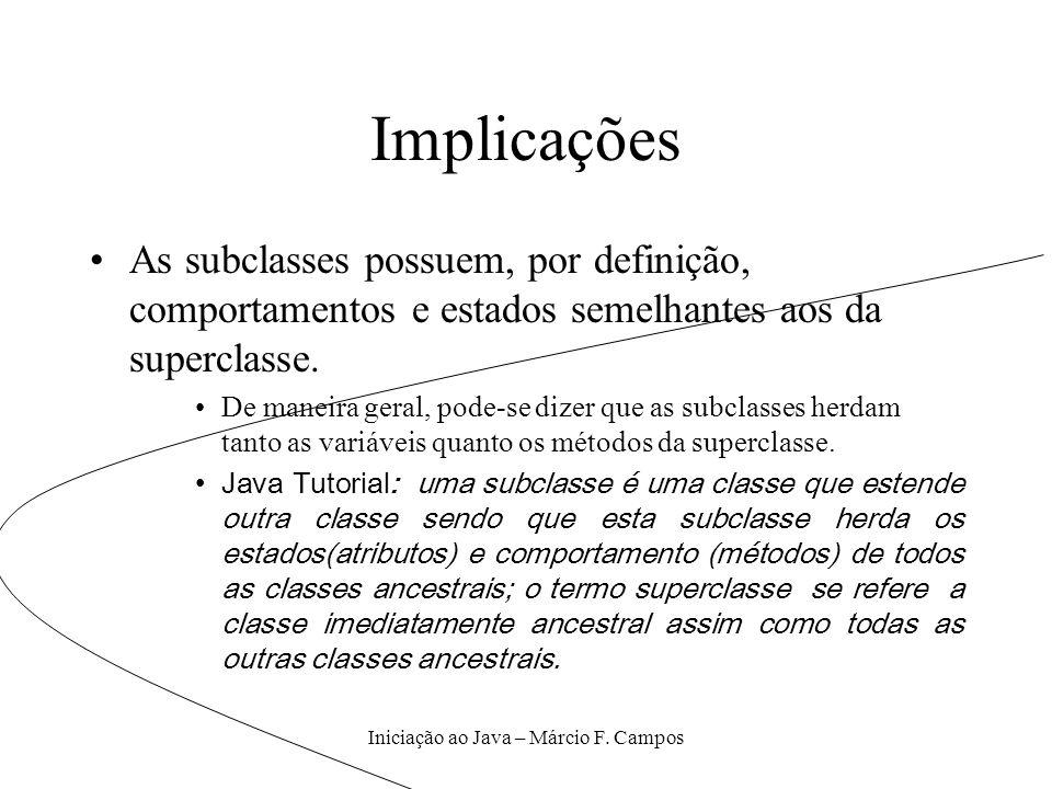 Iniciação ao Java – Márcio F. Campos Implicações As subclasses possuem, por definição, comportamentos e estados semelhantes aos da superclasse. De man