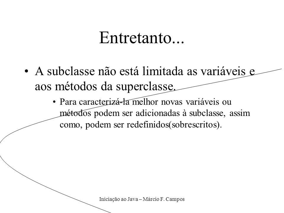 Iniciação ao Java – Márcio F. Campos Entretanto... A subclasse não está limitada as variáveis e aos métodos da superclasse. Para caracterizá-la melhor