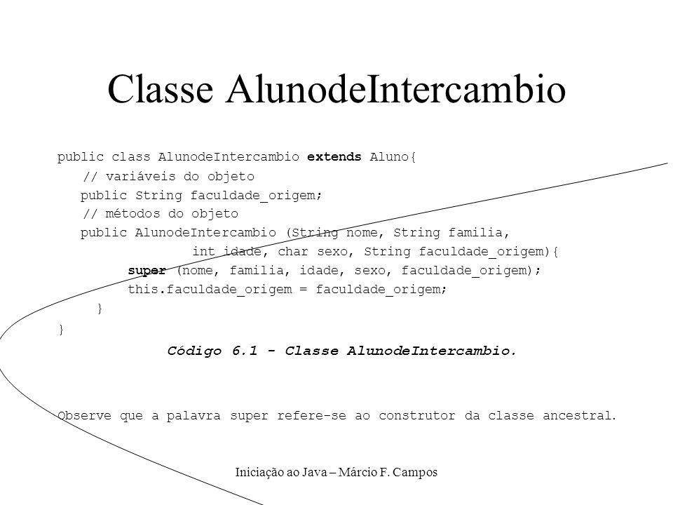 Iniciação ao Java – Márcio F. Campos Classe AlunodeIntercambio public class AlunodeIntercambio extends Aluno{ // variáveis do objeto public String fac