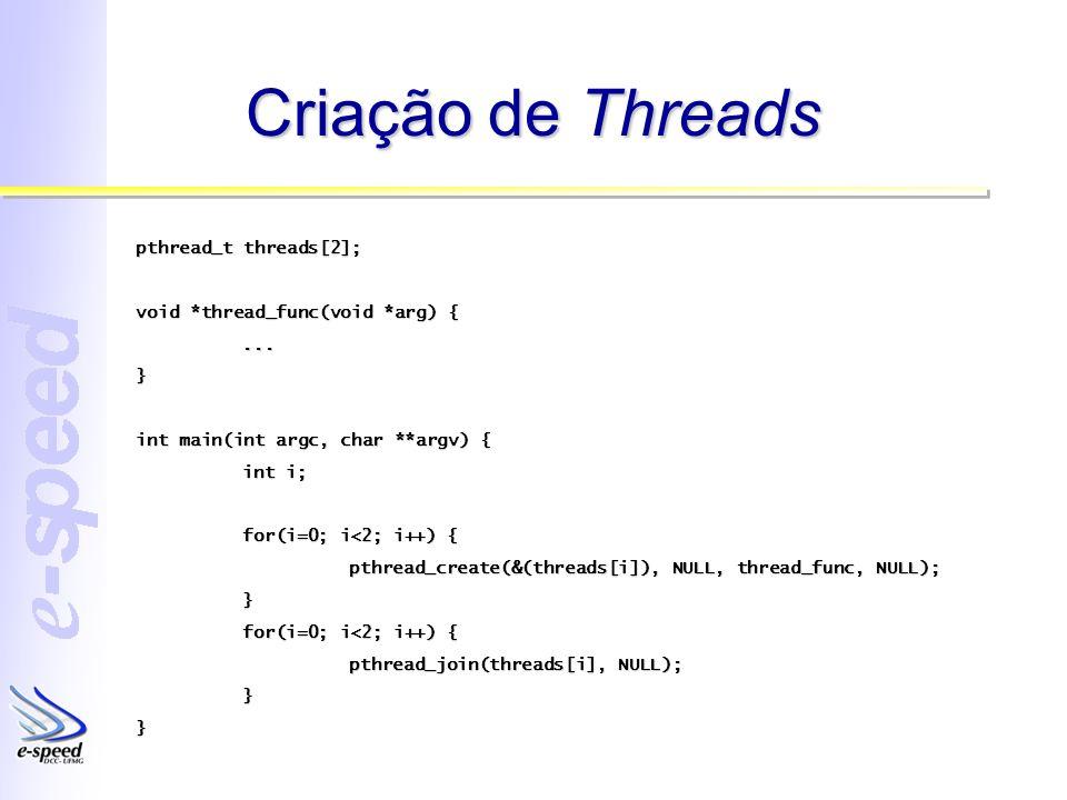 Passando Parâmetros pthread_t threads[2]; void *thread_func(void *arg) { int *n = (int *)arg;...} int main(int argc, char **argv) { int i, a = 10; for(i=0; i<2; i++) { pthread_create(&(threads[i]), NULL, thread_func, &a); } for(i=0; i<2; i++) { pthread_join(threads[i], NULL); }}