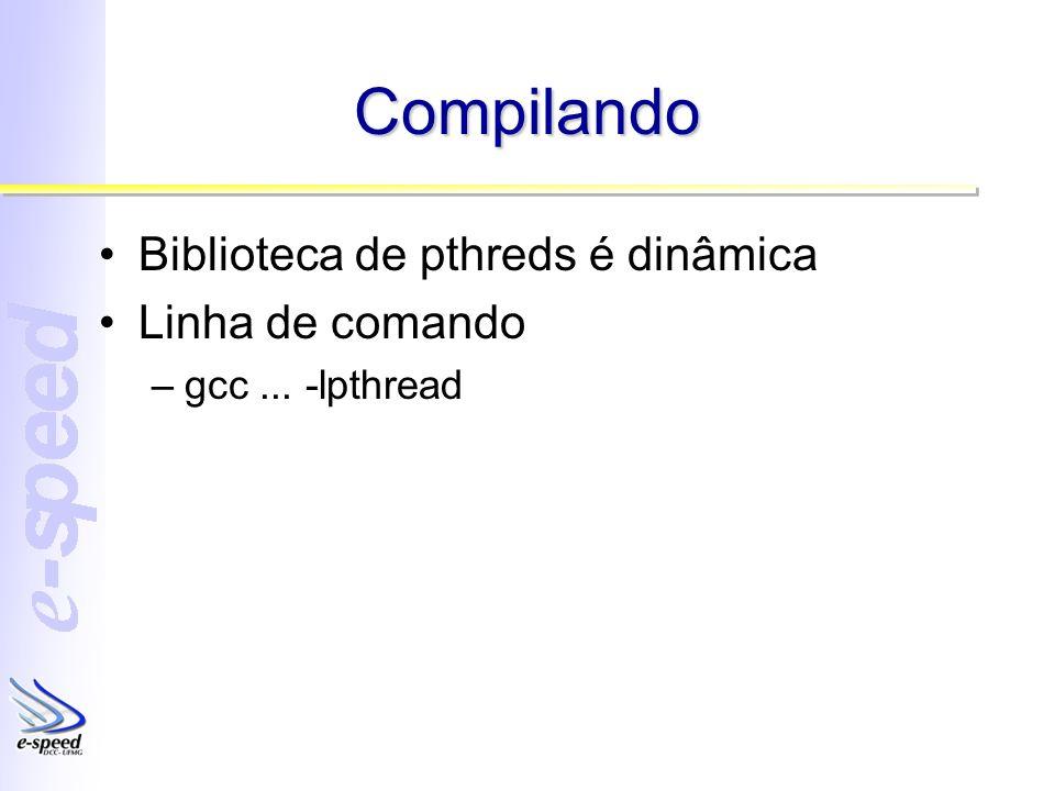 Compilando Biblioteca de pthreds é dinâmica Linha de comando –gcc... -lpthread