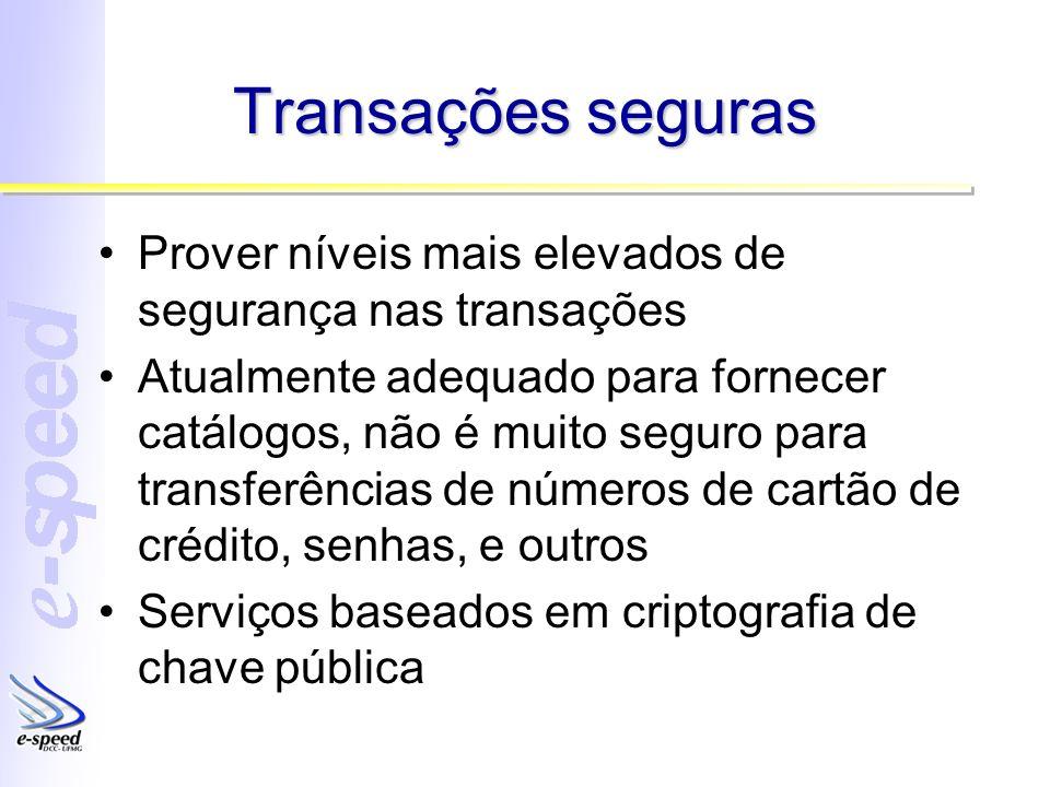 Transações seguras Prover níveis mais elevados de segurança nas transações Atualmente adequado para fornecer catálogos, não é muito seguro para transf
