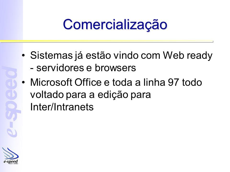 Comercialização Sistemas já estão vindo com Web ready - servidores e browsers Microsoft Office e toda a linha 97 todo voltado para a edição para Inter