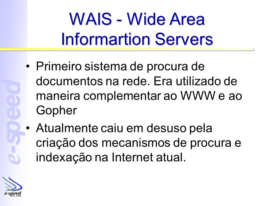 WAIS - Wide Area Informartion Servers Primeiro sistema de procura de documentos na rede.