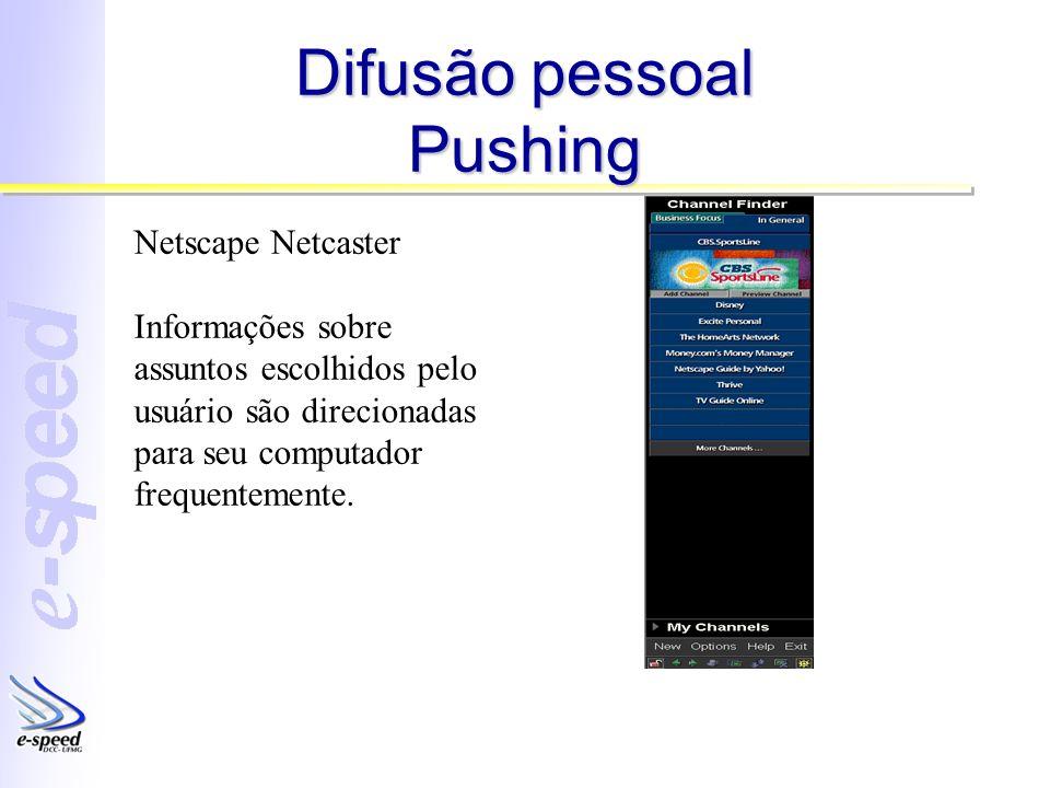 Difusão pessoal Pushing Netscape Netcaster Informações sobre assuntos escolhidos pelo usuário são direcionadas para seu computador frequentemente.