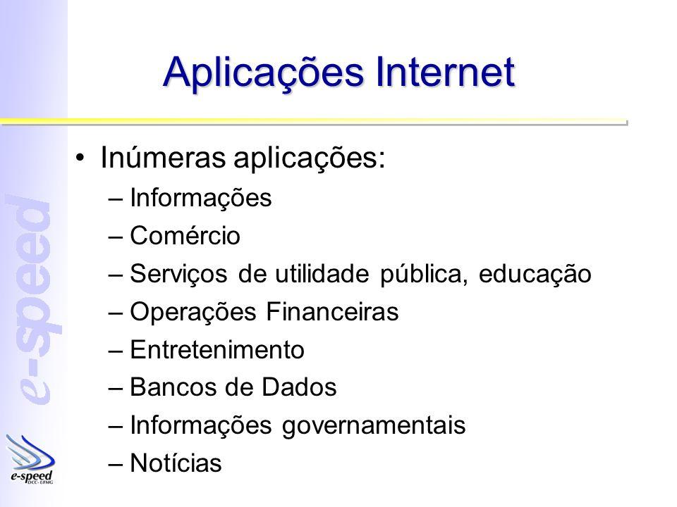Aplicações Internet Inúmeras aplicações: –Informações –Comércio –Serviços de utilidade pública, educação –Operações Financeiras –Entretenimento –Banco