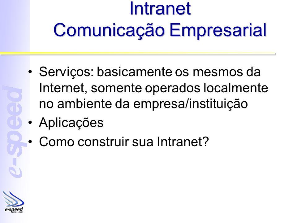 Intranet Comunicação Empresarial Serviços: basicamente os mesmos da Internet, somente operados localmente no ambiente da empresa/instituição Aplicaçõe