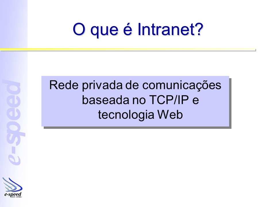 O que é Intranet? Rede privada de comunicações baseada no TCP/IP e tecnologia Web