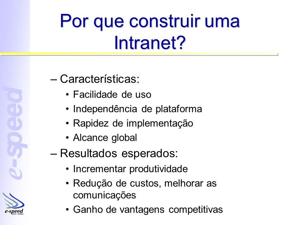 Por que construir uma Intranet? –Características: Facilidade de uso Independência de plataforma Rapidez de implementação Alcance global –Resultados es