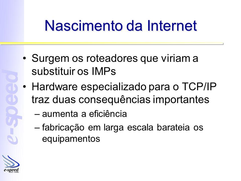 Nascimento da Internet Surgem os roteadores que viriam a substituir os IMPs Hardware especializado para o TCP/IP traz duas consequências importantes –