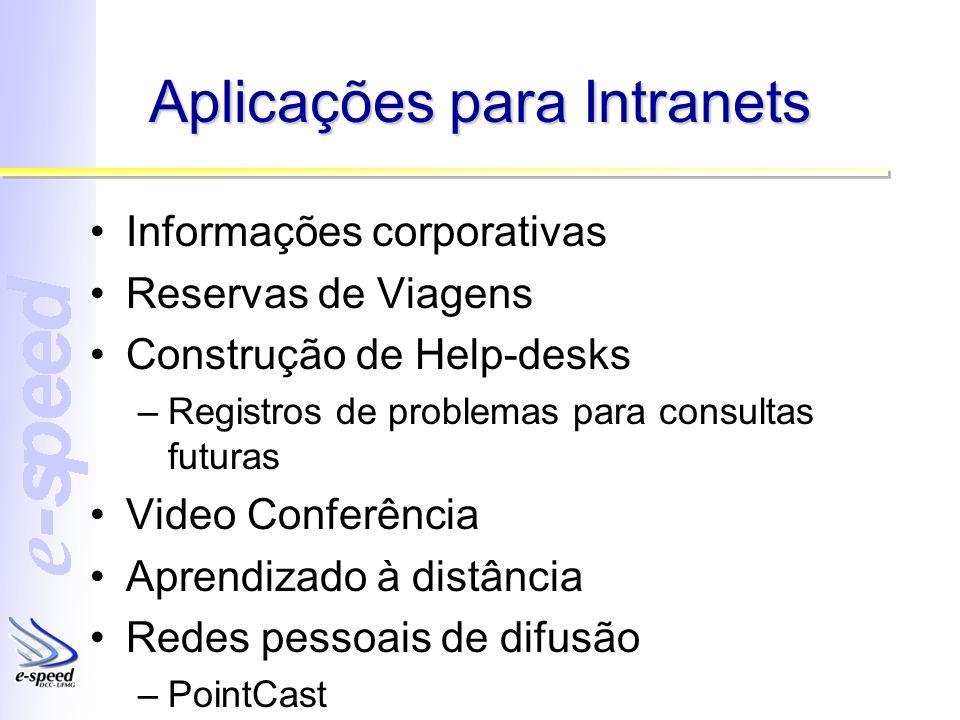 Aplicações para Intranets Informações corporativas Reservas de Viagens Construção de Help-desks –Registros de problemas para consultas futuras Video C