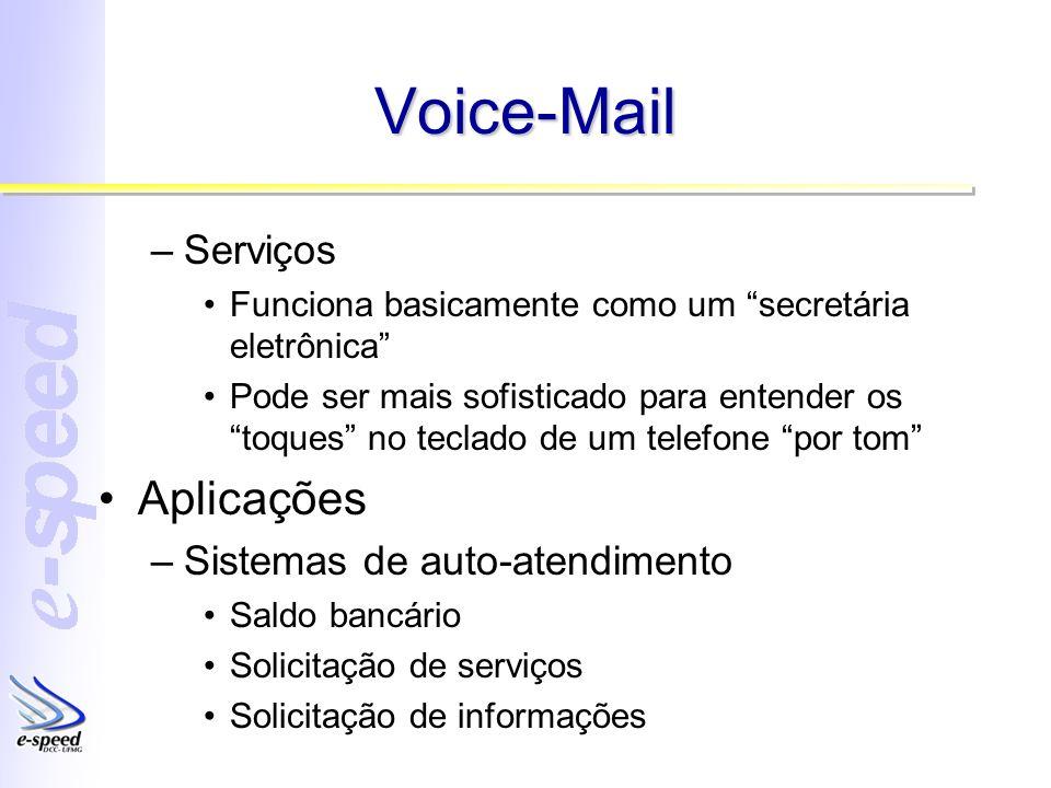 Voice-Mail –Serviços Funciona basicamente como um secretária eletrônica Pode ser mais sofisticado para entender os toques no teclado de um telefone po