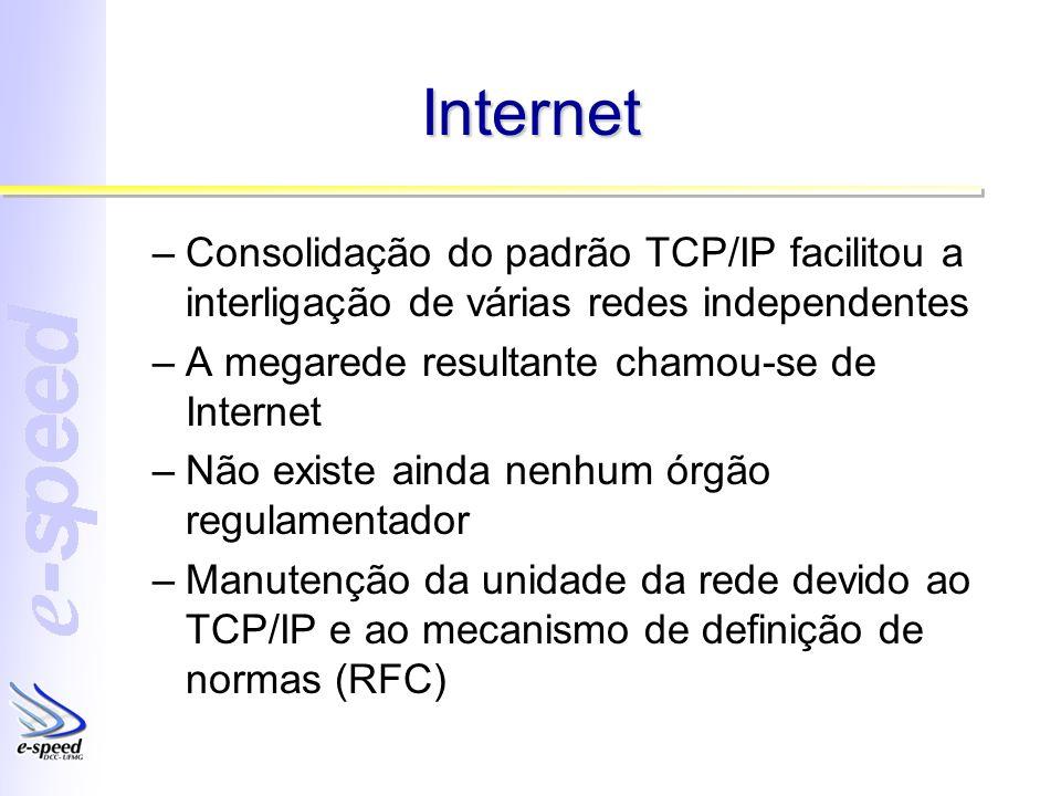 Internet –Consolidação do padrão TCP/IP facilitou a interligação de várias redes independentes –A megarede resultante chamou-se de Internet –Não exist