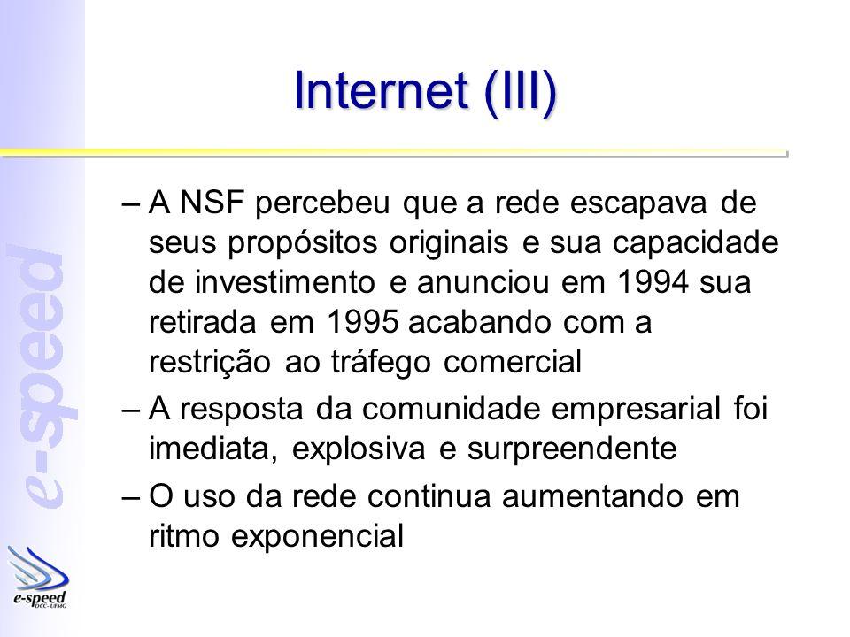 Internet (III) –A NSF percebeu que a rede escapava de seus propósitos originais e sua capacidade de investimento e anunciou em 1994 sua retirada em 19