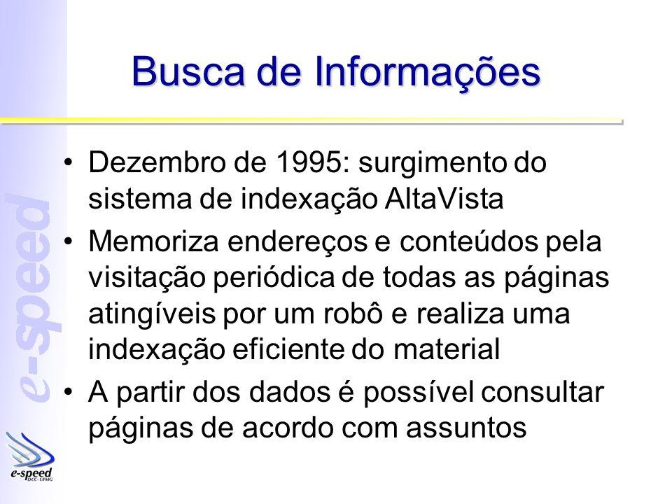 Busca de Informações Dezembro de 1995: surgimento do sistema de indexação AltaVista Memoriza endereços e conteúdos pela visitação periódica de todas a