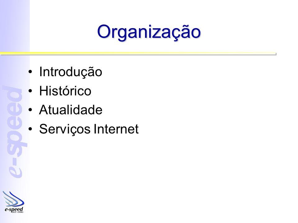 Organização Introdução Histórico Atualidade Serviços Internet