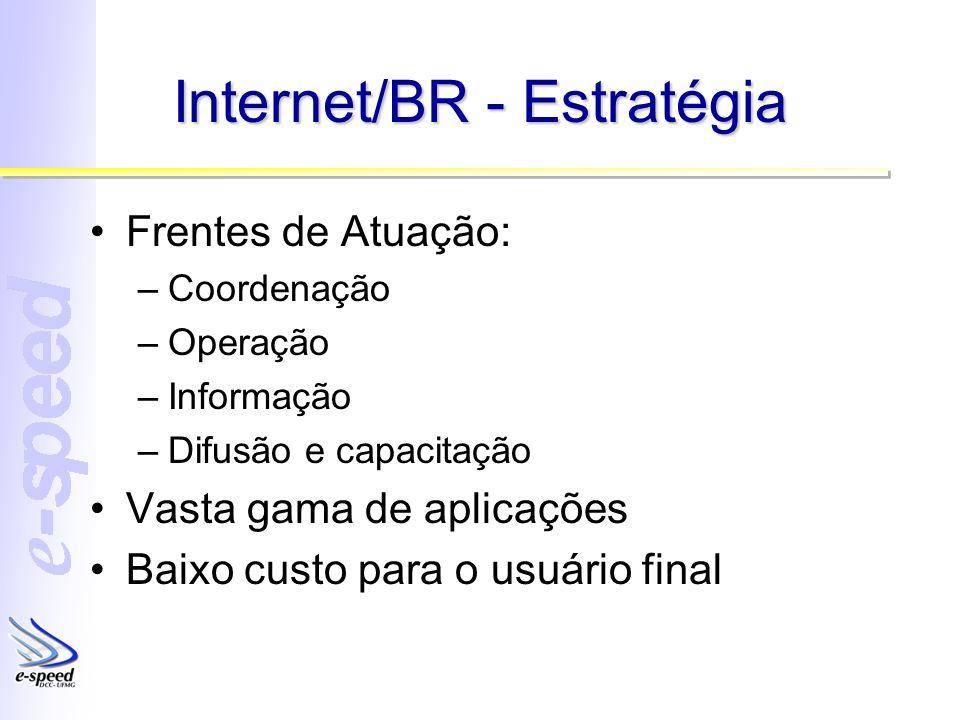 Internet/BR - Estratégia Frentes de Atuação: –Coordenação –Operação –Informação –Difusão e capacitação Vasta gama de aplicações Baixo custo para o usu