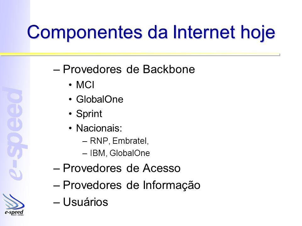Componentes da Internet hoje –Provedores de Backbone MCI GlobalOne Sprint Nacionais: –RNP, Embratel, –IBM, GlobalOne –Provedores de Acesso –Provedores