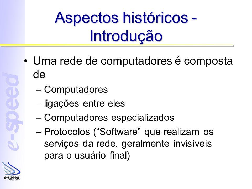 Aspectos históricos - Introdução Uma rede de computadores é composta de –Computadores –ligações entre eles –Computadores especializados –Protocolos (S