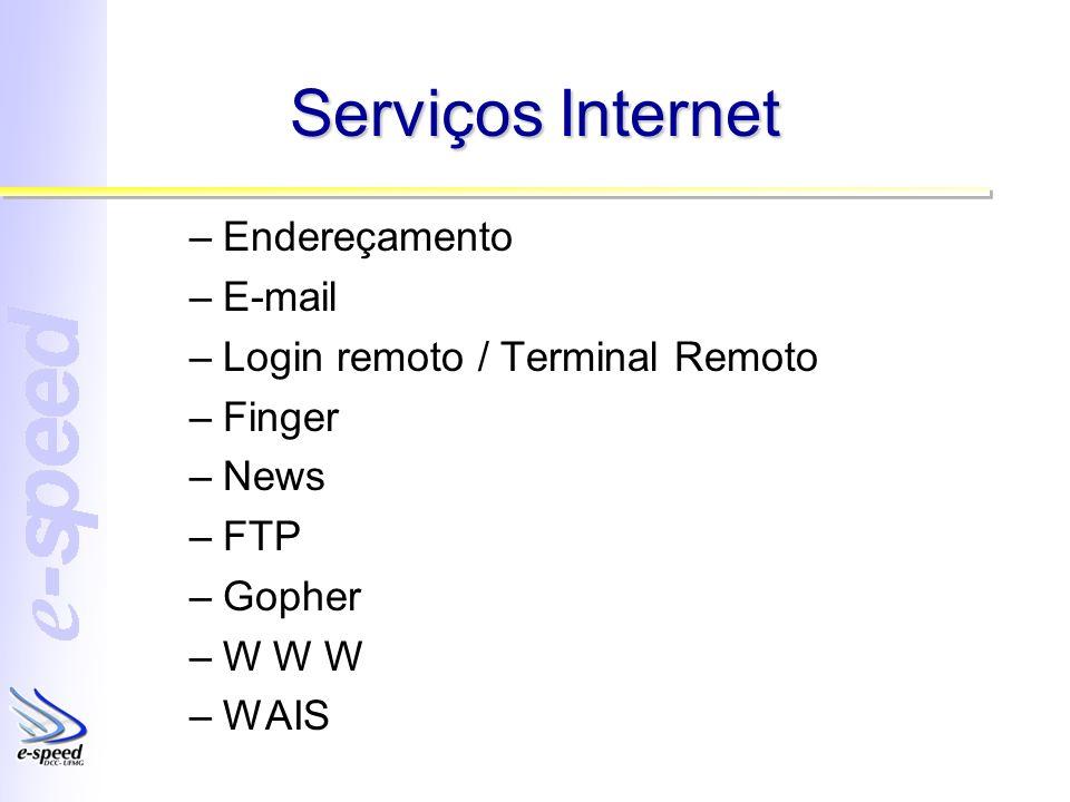 Serviços Internet –Endereçamento –E-mail –Login remoto / Terminal Remoto –Finger –News –FTP –Gopher –W W W –WAIS