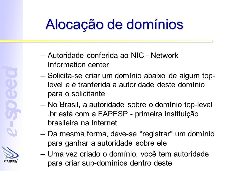 Alocação de domínios –Autoridade conferida ao NIC - Network Information center –Solicita-se criar um domínio abaixo de algum top- level e é tranferida