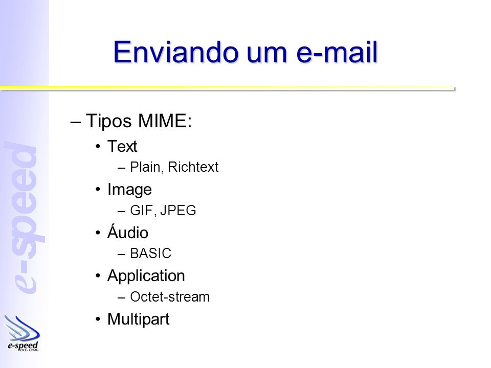 Enviando um e-mail –Tipos MIME: Text –Plain, Richtext Image –GIF, JPEG Áudio –BASIC Application –Octet-stream Multipart