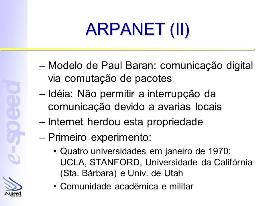 ARPANET (II) –Modelo de Paul Baran: comunicação digital via comutação de pacotes –Idéia: Não permitir a interrupção da comunicação devido a avarias lo